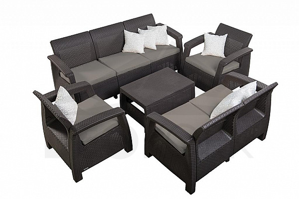 gartenm belset aus polyrattan corfu sun braun i. Black Bedroom Furniture Sets. Home Design Ideas