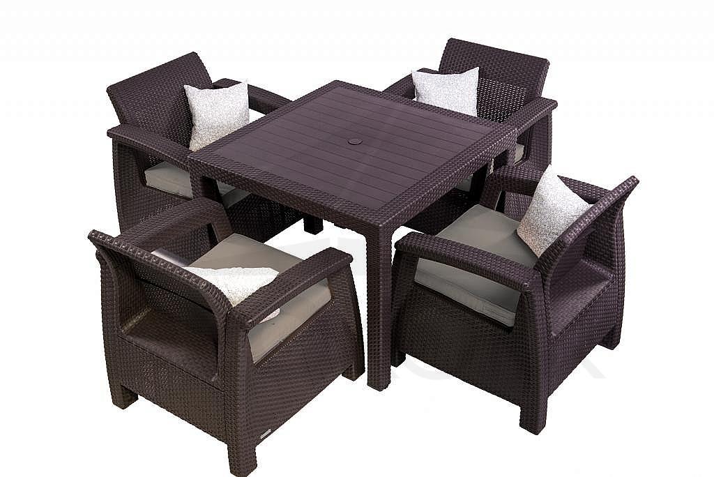 gartenm bel set aus polyrattan corfu mini 1 2 braun i. Black Bedroom Furniture Sets. Home Design Ideas