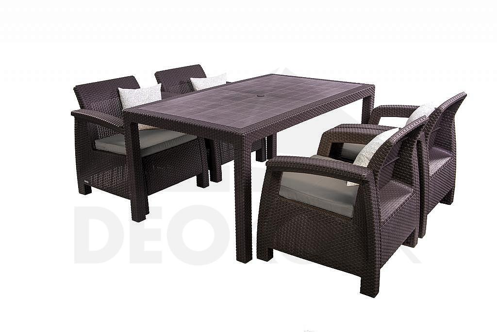 gartenm bel set aus polyrattan corfu lounge set ii 1 4 i. Black Bedroom Furniture Sets. Home Design Ideas