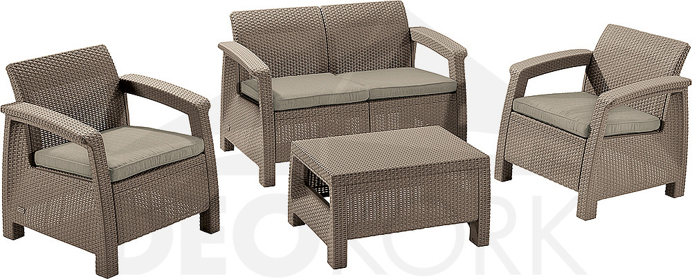 gartenm belset aus polyrattan corfu cappuccino i. Black Bedroom Furniture Sets. Home Design Ideas